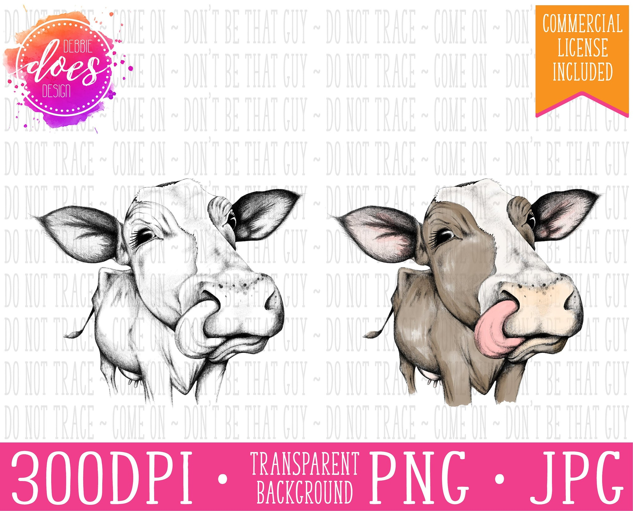 Female/Heifer Hand Drawn Cow with Tongue Print | Instant Download | Sublimation | Printable | PNG | JPG