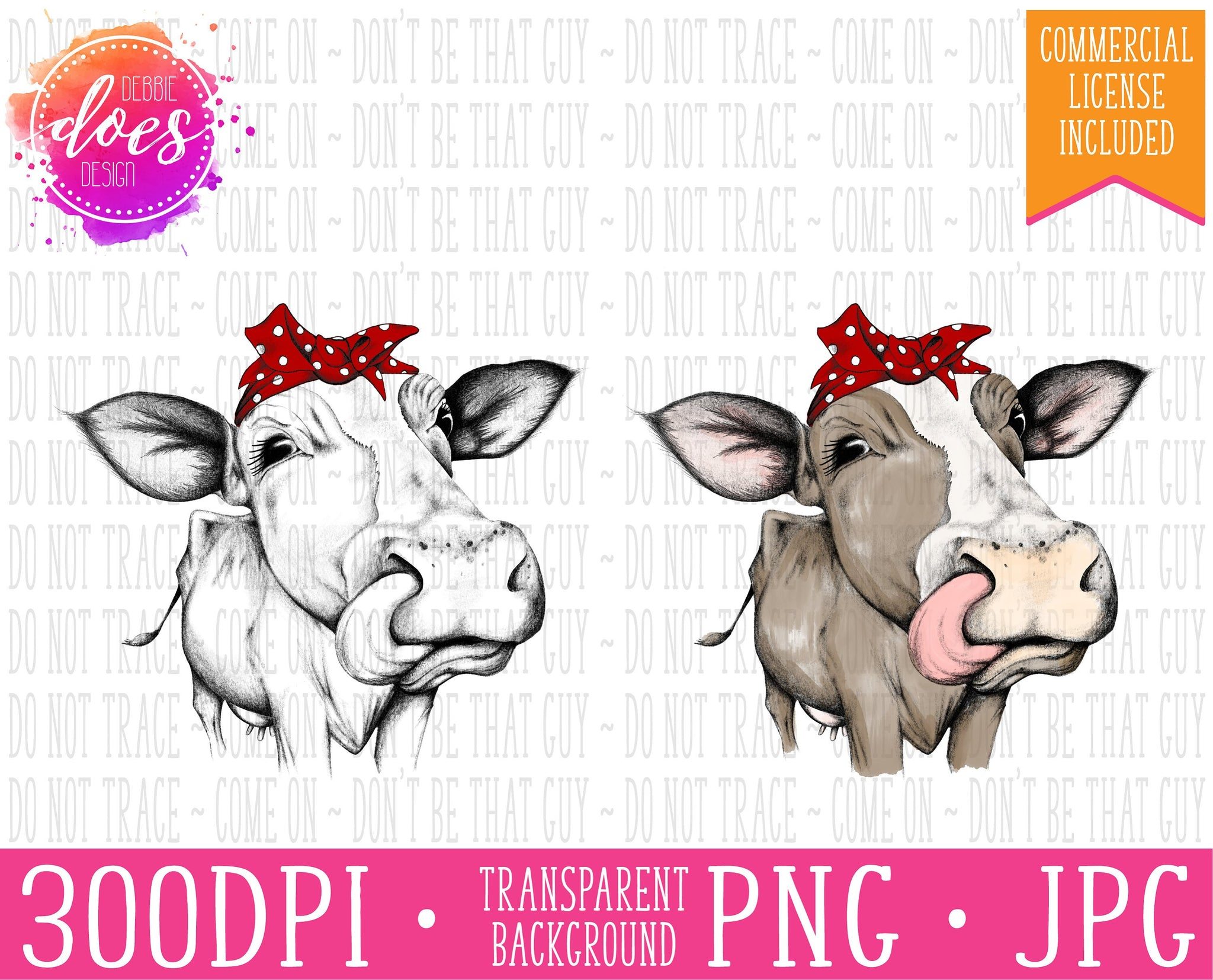 Female/Heifer Hand Drawn Cow in Bandana with Tongue Print | Instant Download | Sublimation | Printable | PNG | JPG