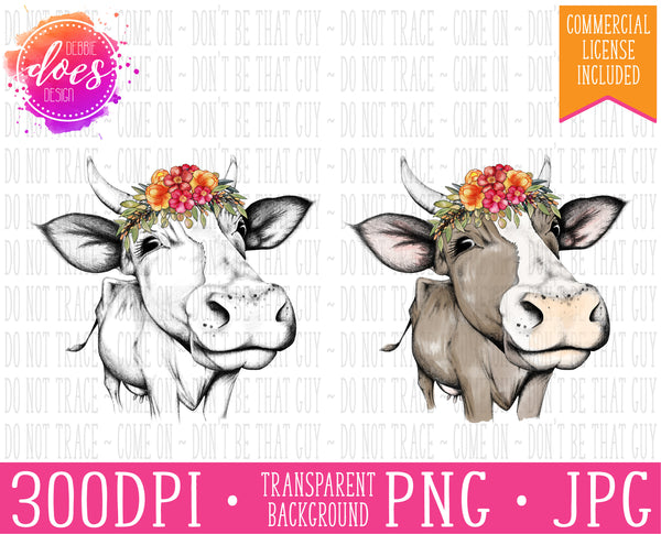 Female/Heifer Hand Drawn Cow with Colorful Flowers and Horns Print | Instant Download | Sublimation | Printable | PNG | JPG