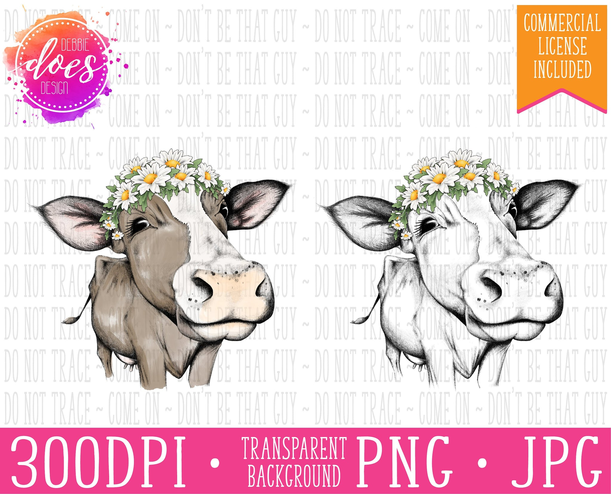 Female/Heifer Hand Drawn Cow with Daisies Print | Instant Download | Sublimation | Printable | PNG | JPG