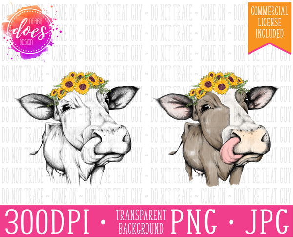 Female/Heifer Hand Drawn Cow with Sunflowers and Tongue Print | Instant Download | Sublimation | Printable | PNG | JPG