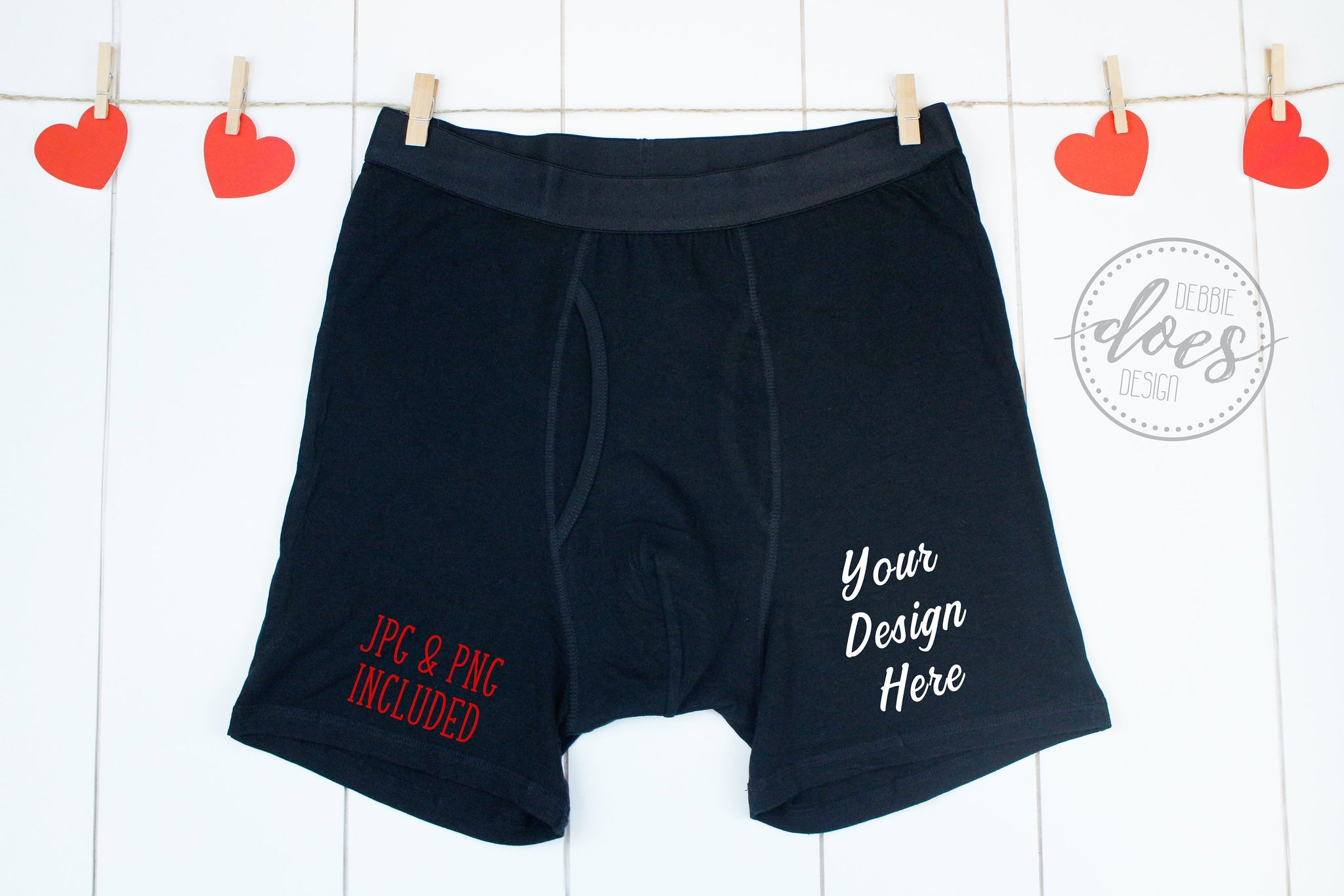 Black Boxer Briefs Mockup on Clothesline with Hearts | Valentines | Blank Mockup Photo Download