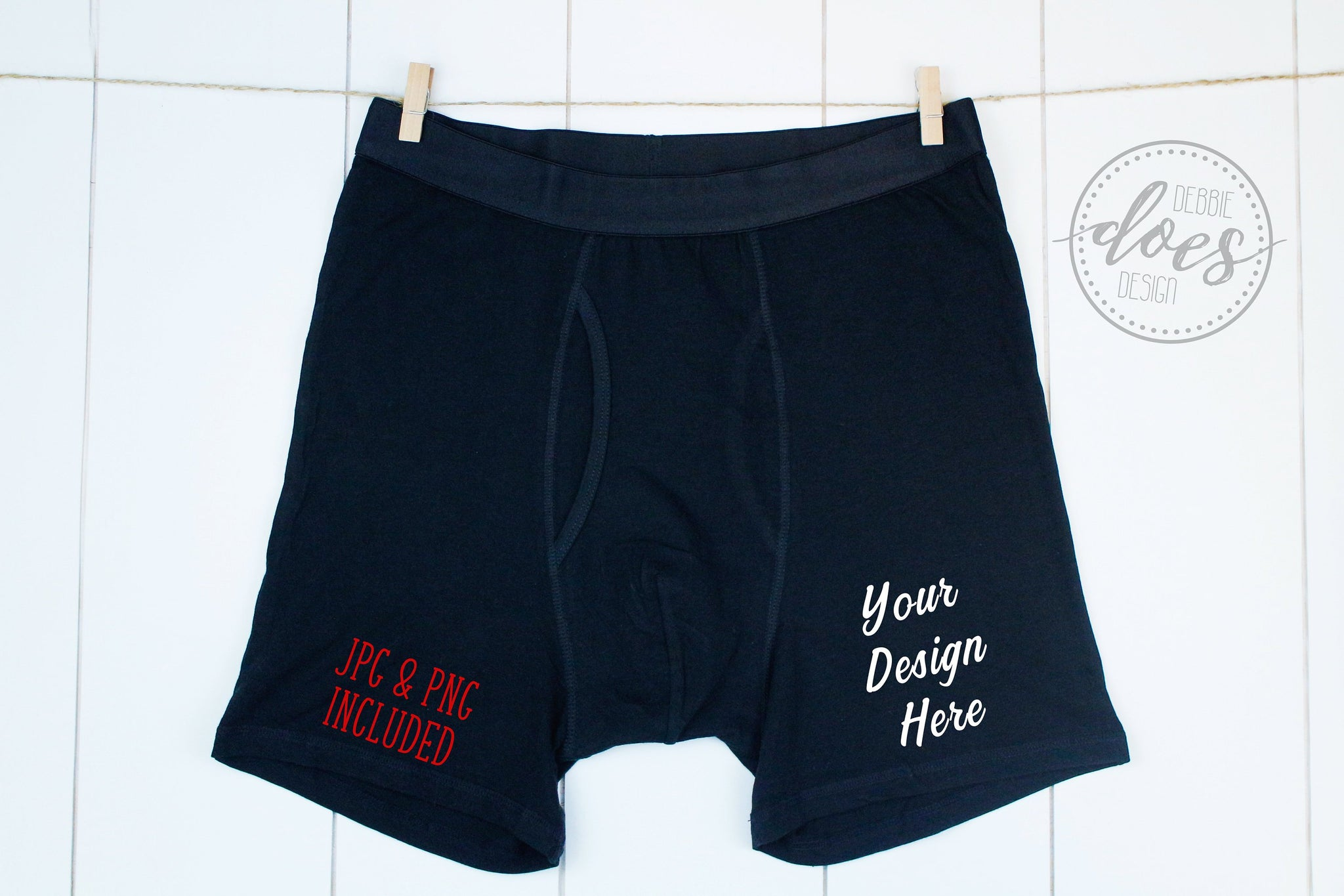 Black Boxer Briefs Mockup on Clothesline | Valentines | Blank Mockup Photo Download