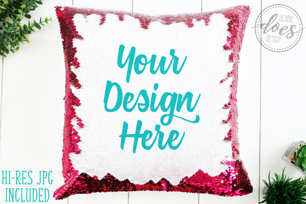 Pink Sequin Pillow Mockup | Sequin Pillow Mock-Up | Blank Mock Up Photo Download