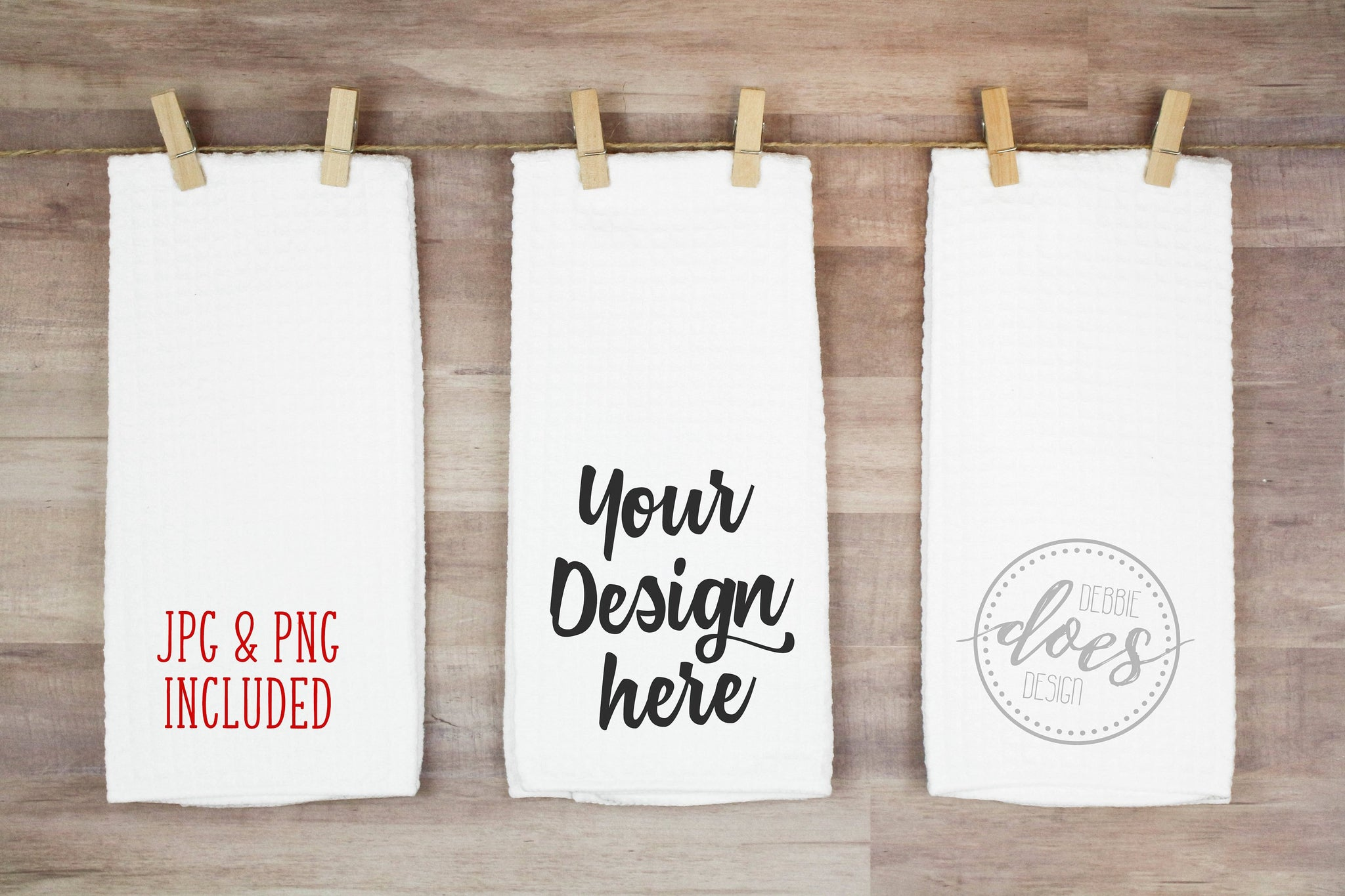 White Waffle Weave Hand Towels - 3 on Line | Kitchen Towel | Blank Mockup Photo Download
