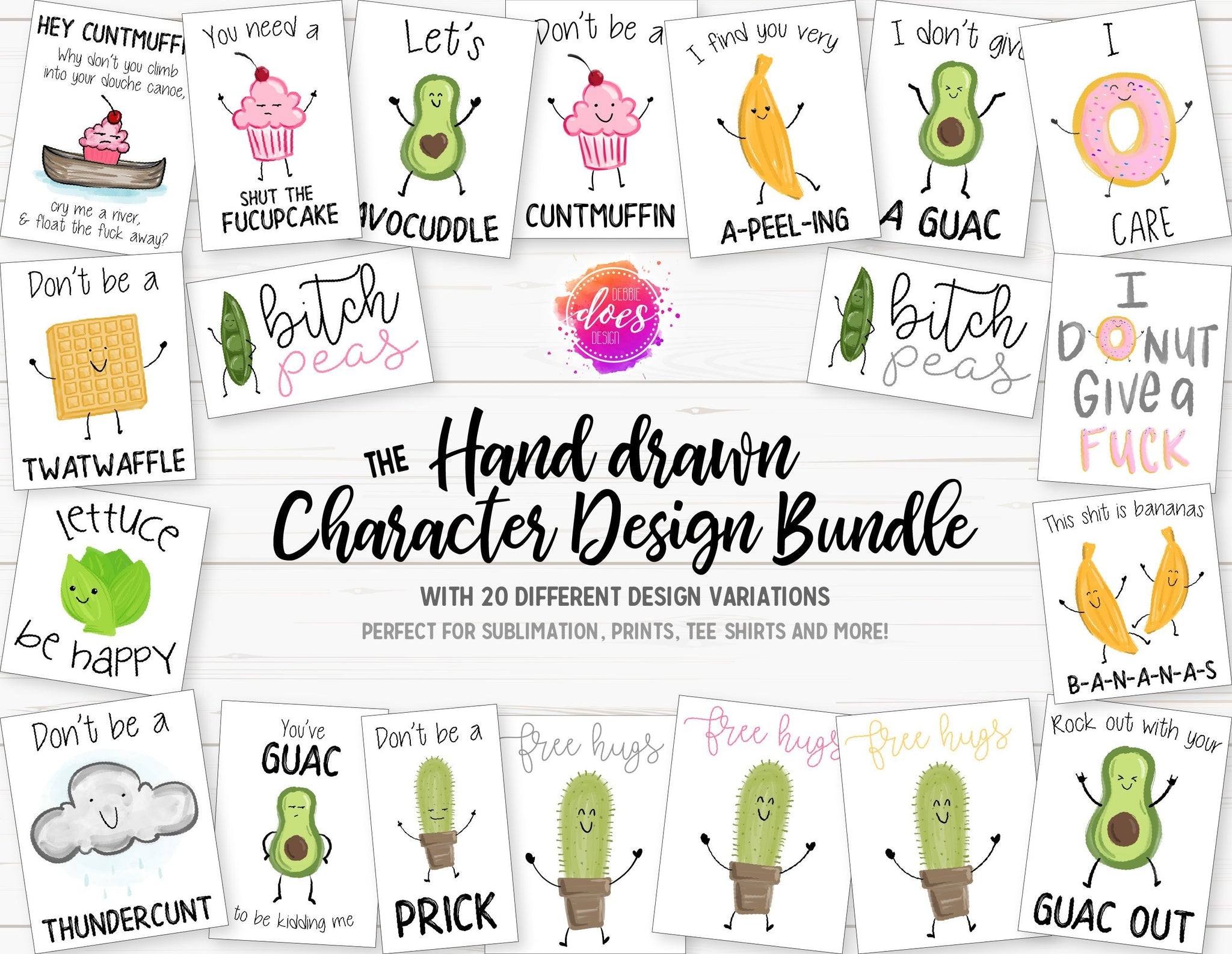 Funny Hand Drawn Character Design Bundle | Sublimation Prints | Printable | Sublimation Designs | PNG | JPG - 300DPI