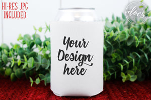 White Can Cooler Mockup | Can Cooler Mock-Up | Blank Mock Up Photo Download