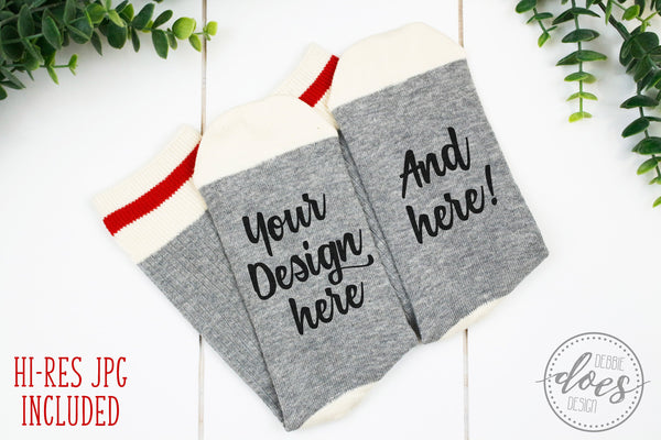 Grey Talking Socks Mockup BUNDLE | Grey Wool Socks Mock-Up | Blank Mock Up Photo Download