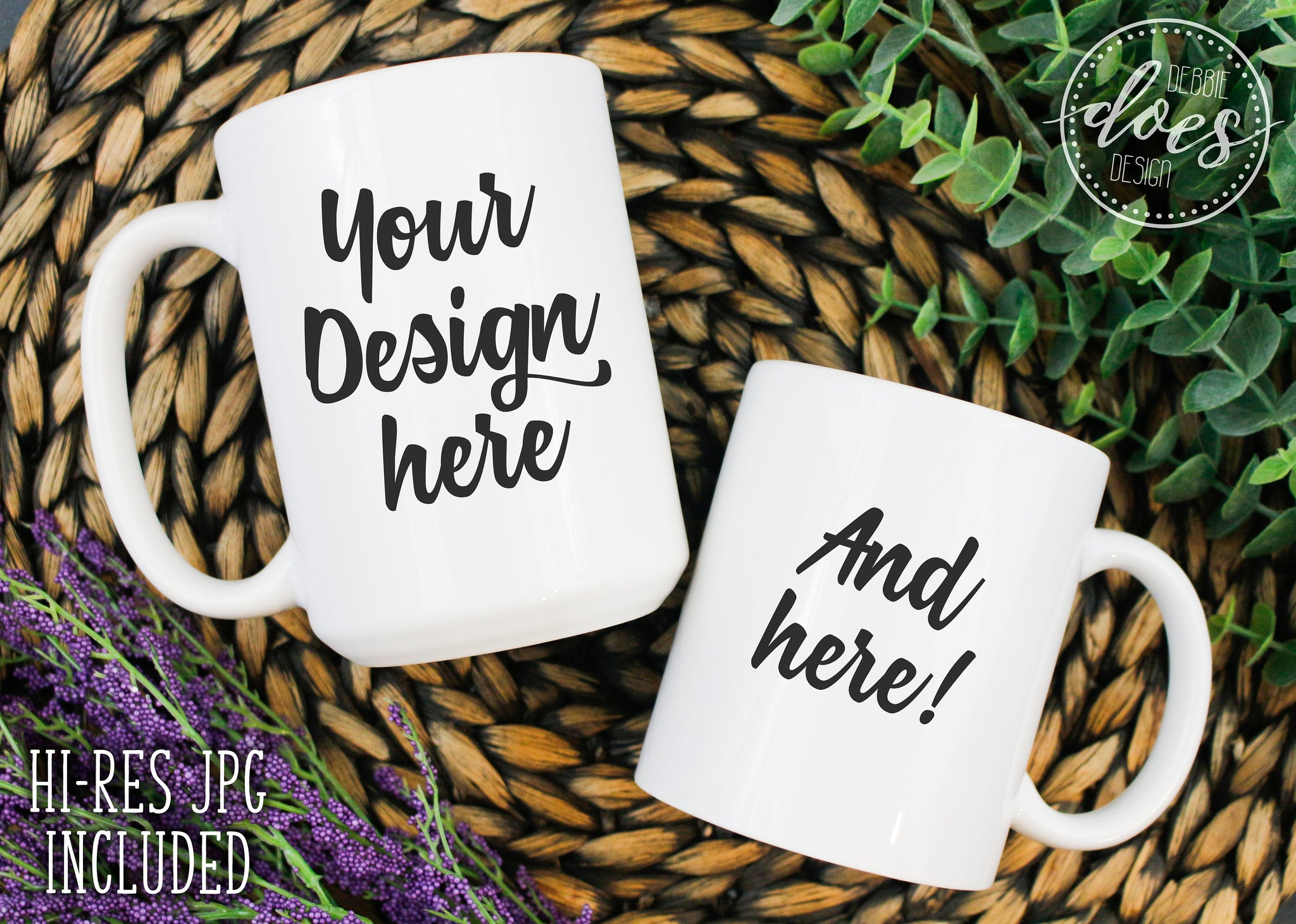 White 15oz & 11oz Mug Group Mockup | White Mug Mock-Up | Blank Mock Up Photo Download