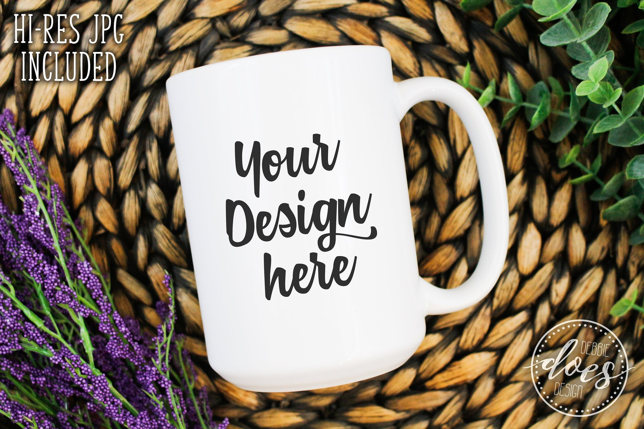 White 15oz Mug Mockup | White Mug Mock-Up | Blank Mock Up Photo Download