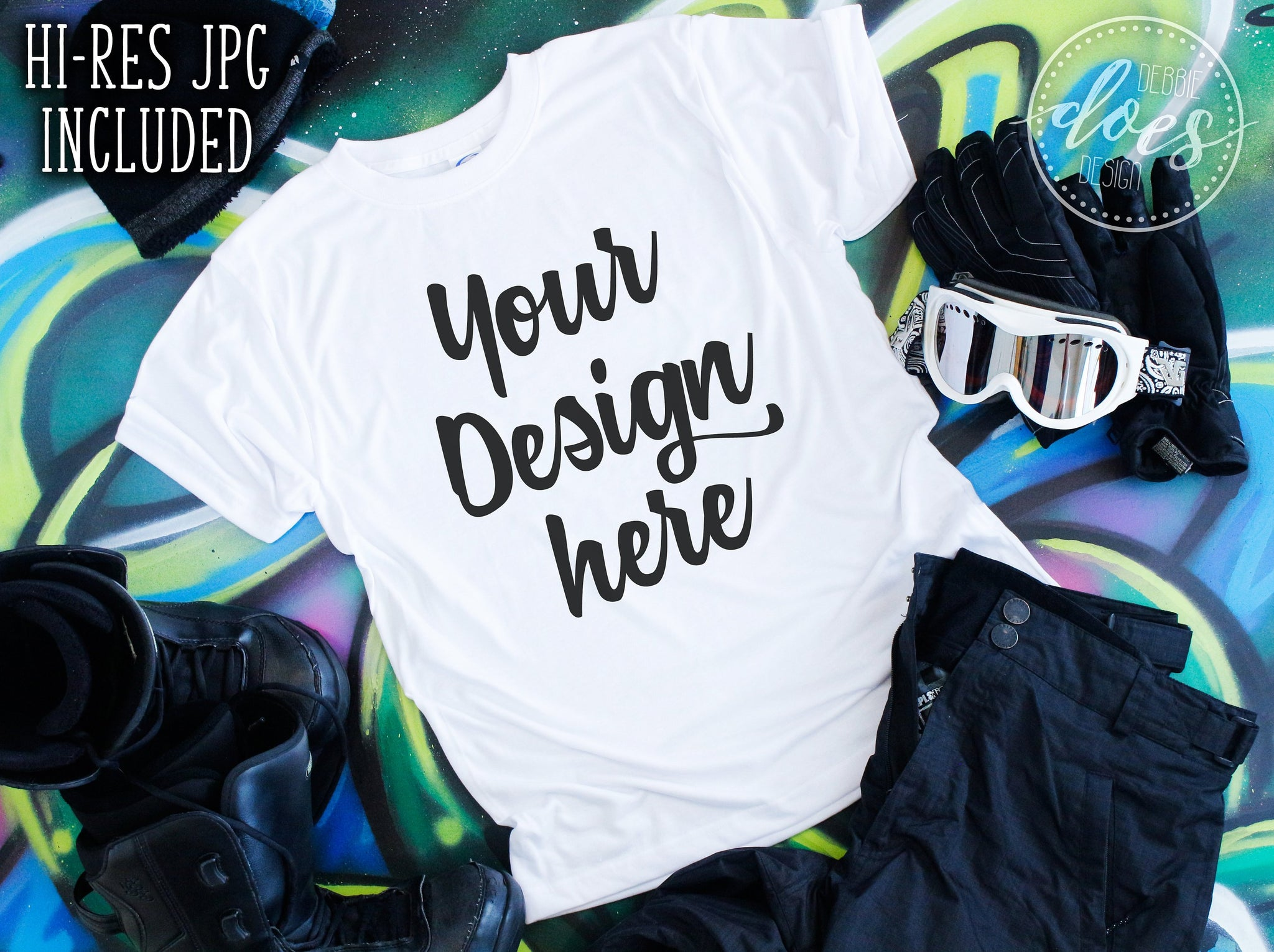 Snowboard Tee Shirt Mockup | White Tee Mock-Up | Blank Mock Up Photo Download