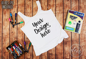 Women's Art Tank Mockup | White Tank Mock-Up | Blank Mock Up Photo Download