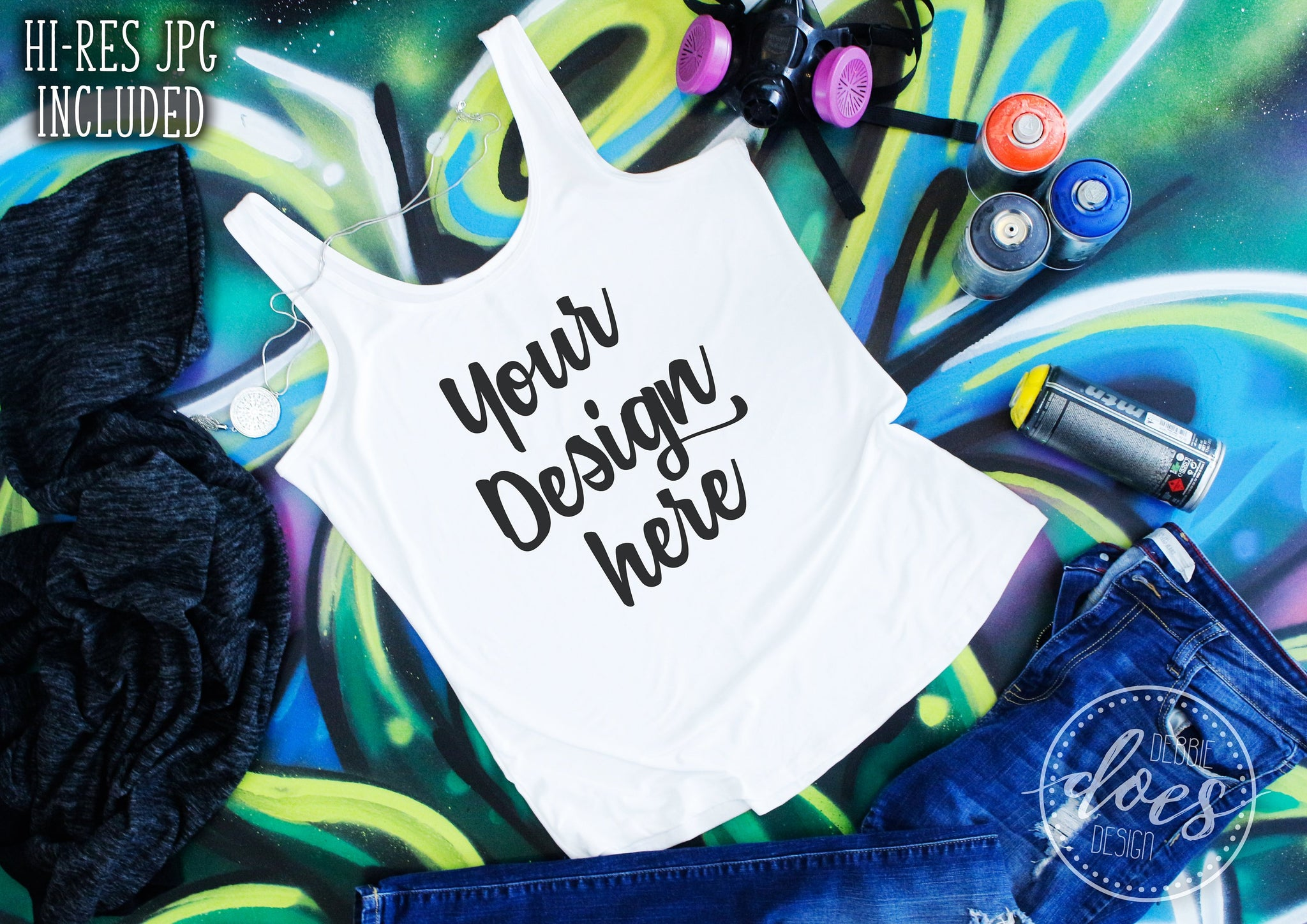 Women's Graffiti Tank Mockup | White Tank Mock-Up | Blank Mock Up Photo Download