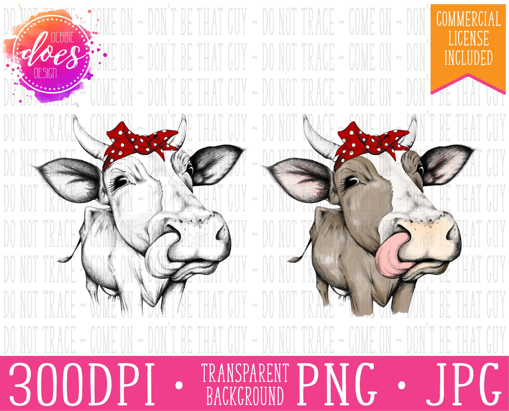 Female/Heifer Hand Drawn Cow in Bandana with Horns and Tongue Print | Instant Download | Sublimation | Printable | PNG | JPG