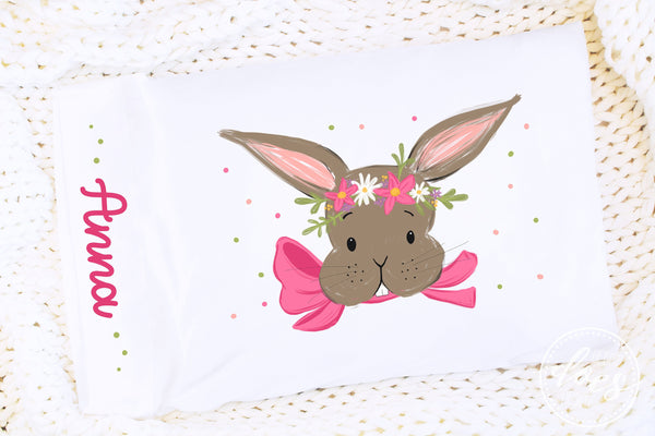 Easter Bunny with Pink Bow and Flowers - Pillowcase Design | Sublimation Print | Printable | Sublimation Design | PNG | JPG - 300DPI