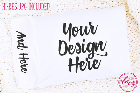 White Pillowcase Mockup | Bed Pillow Mock-Up | Blank Mock Up Photo Download