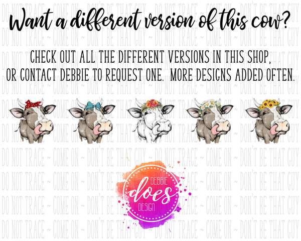 Female/Heifer Hand Drawn Cow with Bow and Horns Print (12 different colors) Instant Download | Sublimation | Printable | PNG | JPG