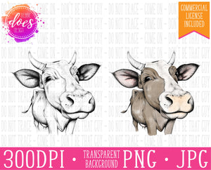 Female/Heifer Hand Drawn Cow with Horns Print | Instant Download | Sublimation | Printable | PNG | JPG