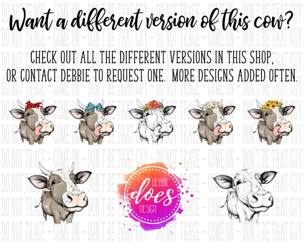 Female/Heifer Hand Drawn Cow with Daisies Horns and Tongue Print | Instant Download | Sublimation | Printable | PNG | JPG