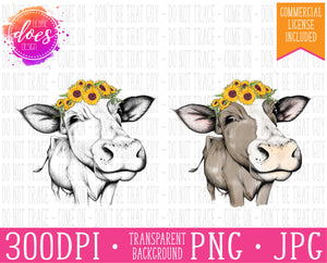 Female/Heifer Hand Drawn Cow with Sunflowers Print | Instant Download | Sublimation | Printable | PNG | JPG