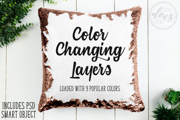 Color Changing Sequin Pillow Mockup with Smart Object | Sequin Pillow Mock-Up | Blank Mock Up Photo Download