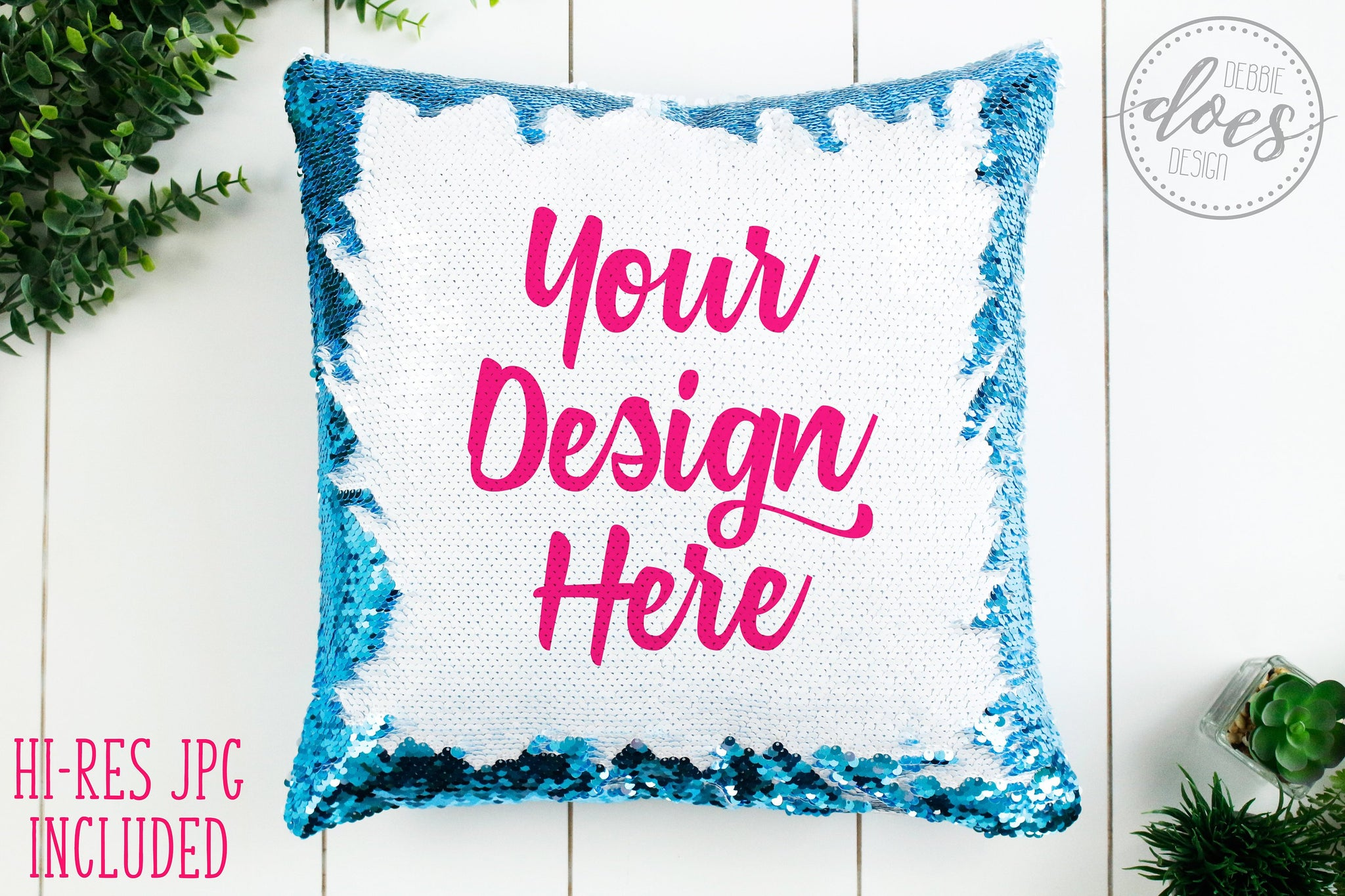 Blue Sequin Pillow Mockup | Sequin Pillow Mock-Up | Blank Mock Up Photo Download