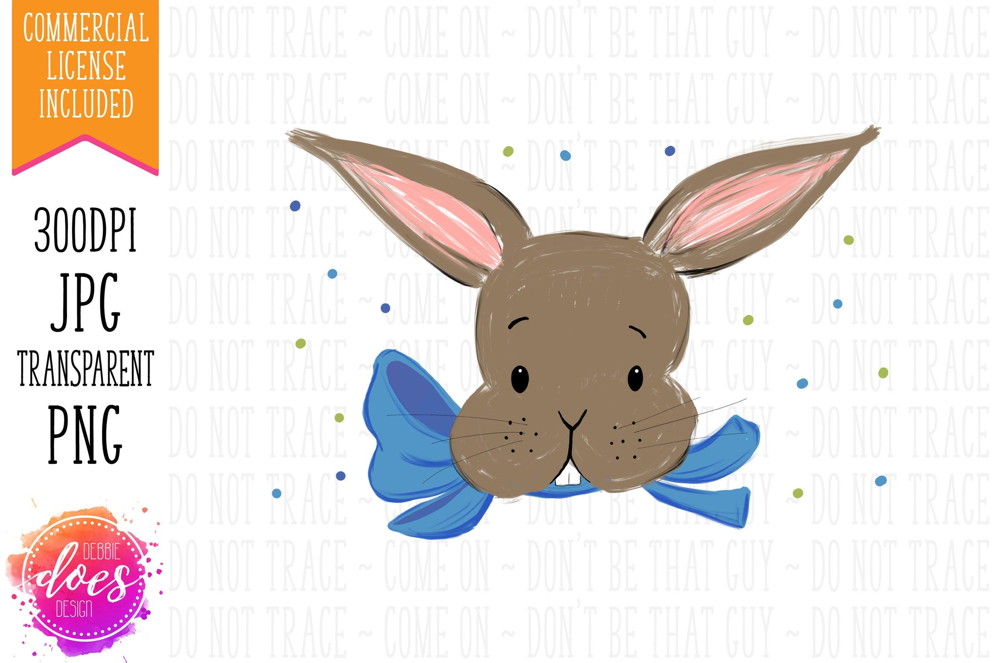 Easter Bunny with Blue Bow - Pillowcase Design | Sublimation Print | Printable | Sublimation Design | PNG | JPG - 300DPI