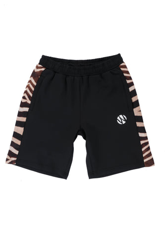WyldOnes Side Animal Print Track Shorts- WO101- Zebra