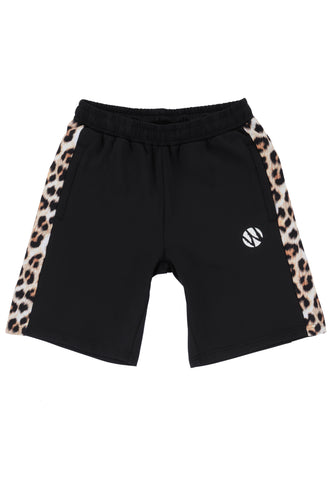 WyldOnes Side Animal Print Track Shorts- WO101- Leopard
