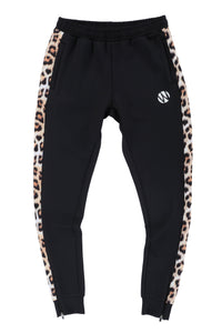 WyldOnes Side Animal Print Track Pants- WO201- Leopard