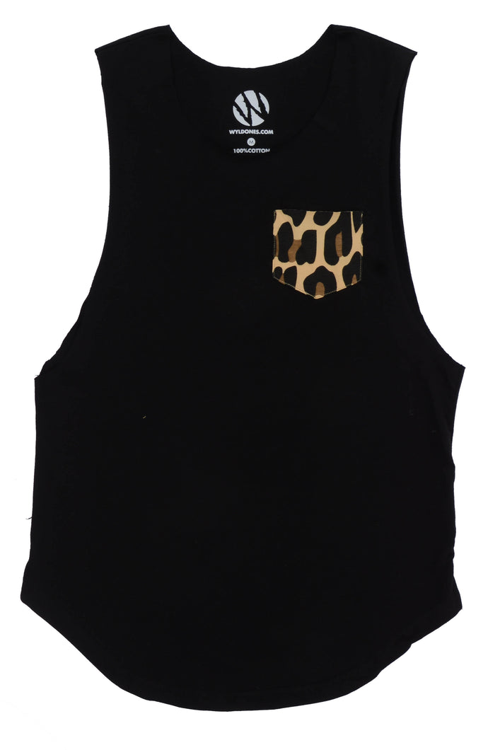 WyldOnes Raw Muscle Cut-Off Tank- WO301- Black/Leopard