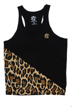 Load image into Gallery viewer, WyldOnes Raw Diagonal Animal Print Stringer Tank- WO302- Black/Leopard