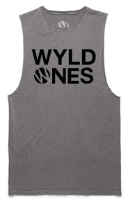 WyldOnes Logo Muscle Cut-Off Tank- WO303- Grey Stone Wash