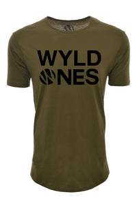 WyldOnes Logo Elongated T-Shirt- WO402- Olive