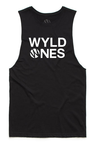 WyldOnes Logo Muscle Cut-Off Tank- WO303- Black