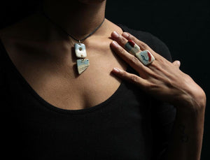 handmade porcelain necklace and rings