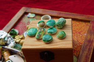green porcelain beads