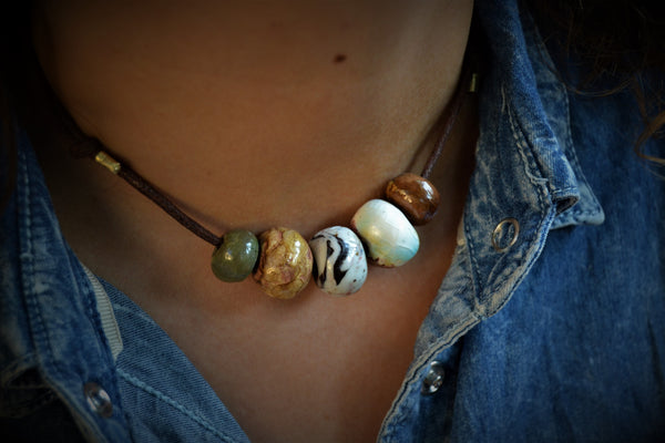 Beaded necklace with earth colors