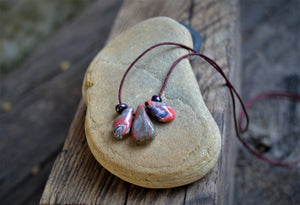 Pink and grey porcelain drops necklace