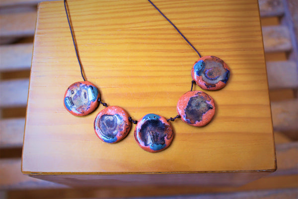 pink circles statement ceramic necklace