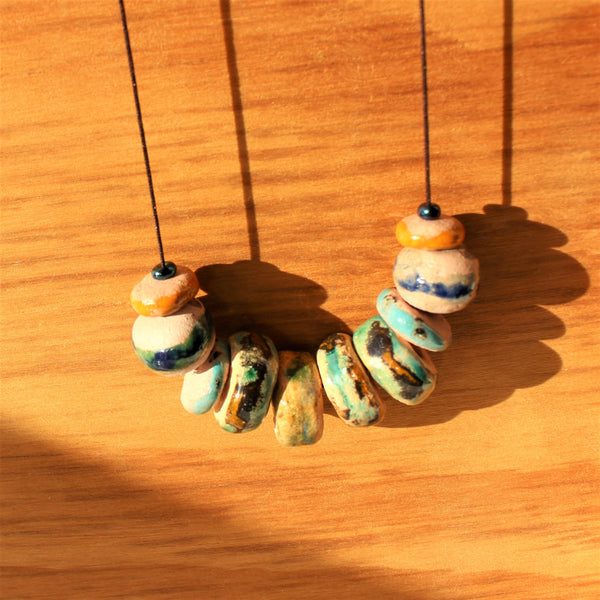 beaded colorful rustic ceramic necklace