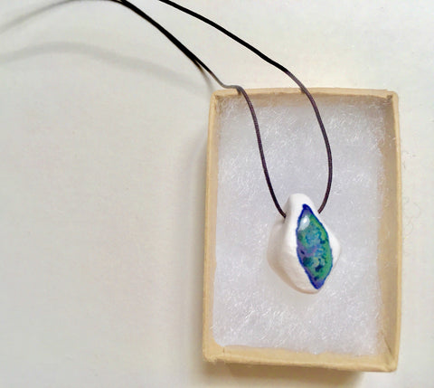 Porcelain White and Blue Pendant
