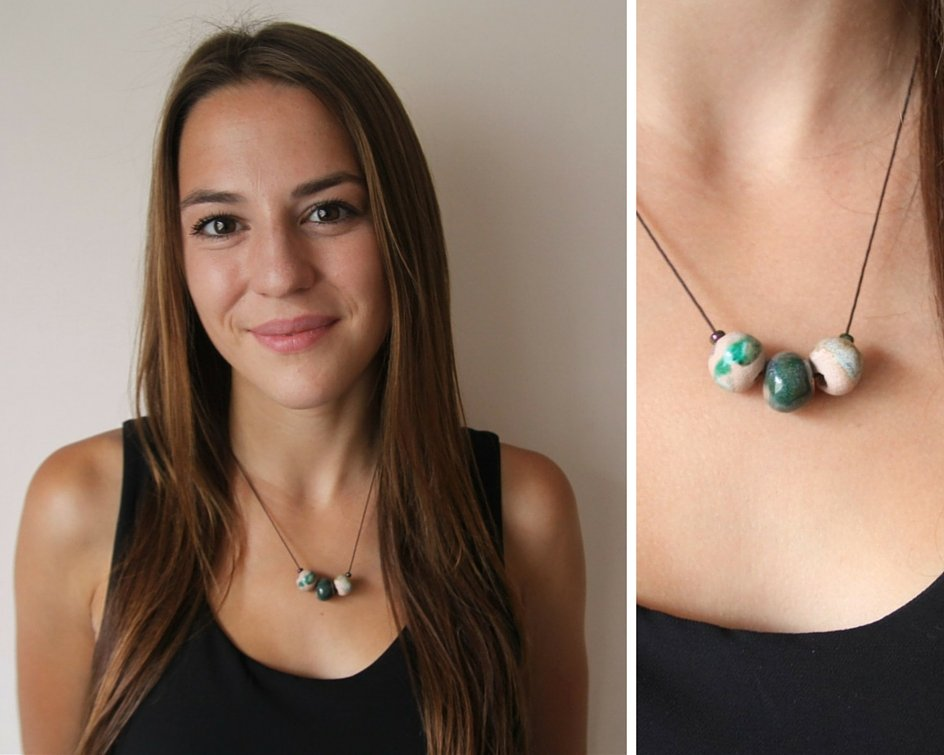 beaded green porcelain necklace