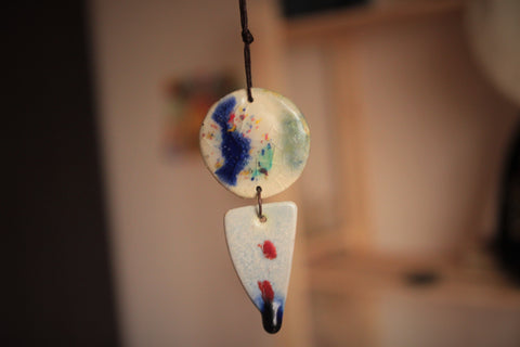 circle and triangle ceramic pendant