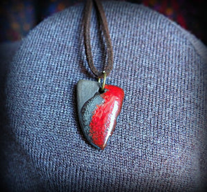triangle black and red porcelain pendant