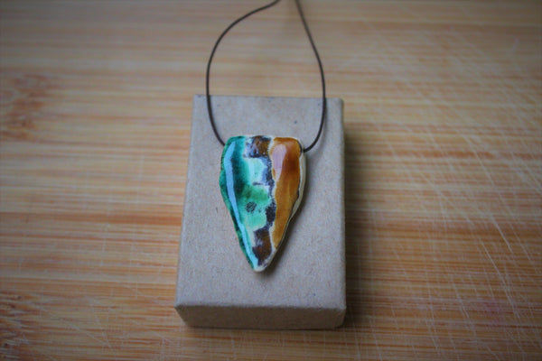 triangle porcelain pendant with colorful stripes