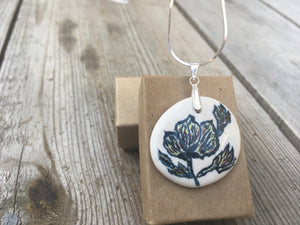 Porcelain Pendant with blue flowers