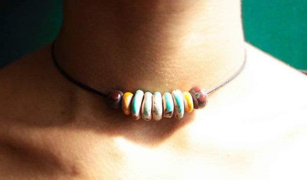 tribal blue and orange beaded necklace