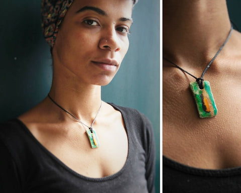 green and orange irregular rectangle ceramic pendant