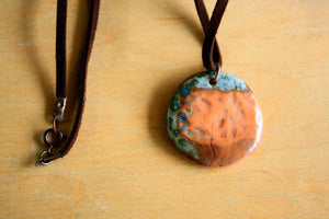 porcelain pendant with a colorful tree